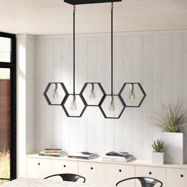 Black honeycomb contemporary dining room lighting