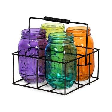 Pfaltzgraff 8-inch By 4-inch Assorted Color Mason Jars With Caddy, $16.99