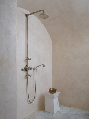 contemporary shower with limewash walls in pink