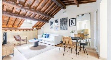 wood-ceilinged living room