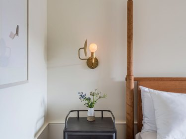 bedroom wall sconce in Rivertown Lodge by Workstead