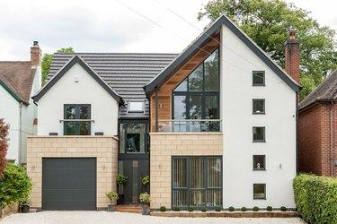 sleek flush panel modern garage doors on modern house