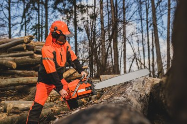 A chainsaw operator.