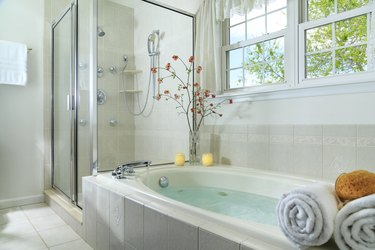 whirlpool tub in bathroom