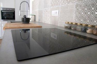 Modern kitchen interior with cement countertop
