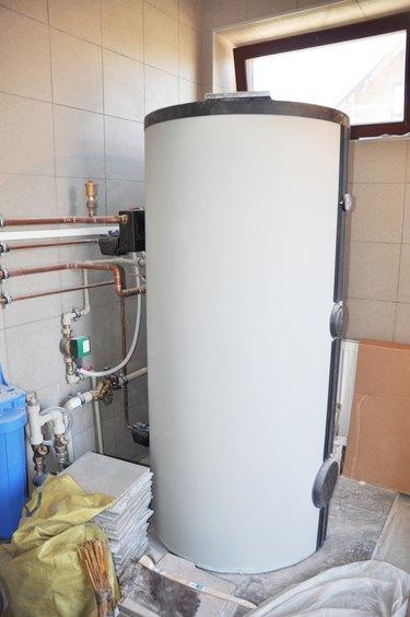 Hot water heating boiler installation.