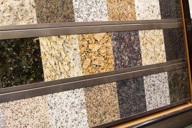 Granite sample display at a home improvement store