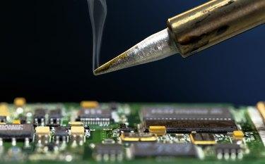 Soldering an electronic circuit board