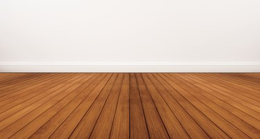 Wooden floor and white wall
