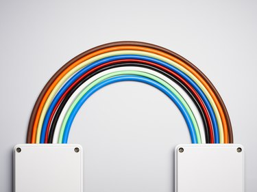 Colorful cords in rainbow shape