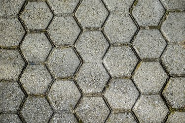 Concrete or cobble gray pavement slabs or stones  for floo