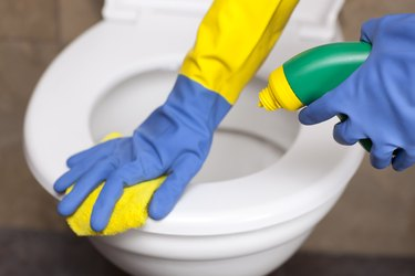 Toilet cleaning.