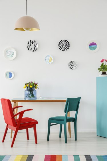 Plates hung on a wall for display decor