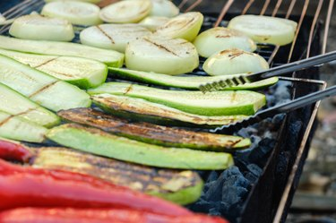 Grilled vegetables on a grill pan, outdoor