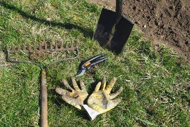 Gardening tools on green grass.