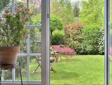 view in garden by windows