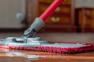 A mop washing a wooden floor in an apartment. Concept of care for the cleanliness of the apartment. Mopping the floor