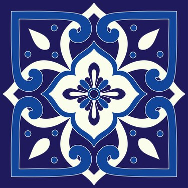 Italian tile pattern vector seamless element. Portuguese azulejos, mexican talavera, venetian, sicily majolica, spanish or delft dutch ceramic. Mosaic texture for wrapping paper, textile or fabric.