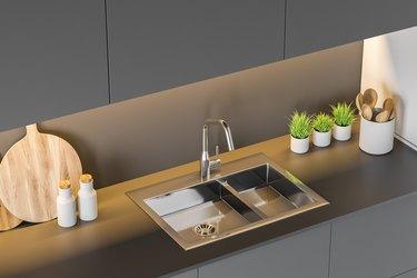 Modern stainless steel kitchen sink
