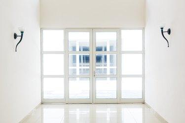 empty closed door, white glass door