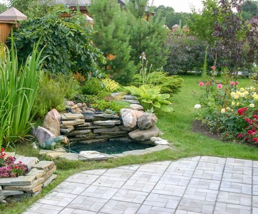 Landscape design with waterfall