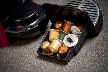 Nespresso coffee machine with capsules