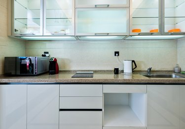 Kitchen counter and cabinet in new home