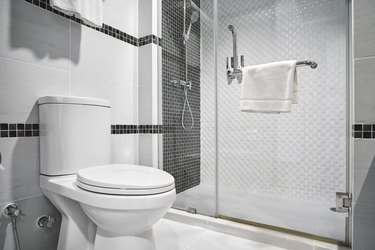 Concept of modern decoration design of bathroom for luxury hotel, residential