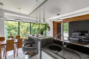 Elegant kitchen with gray countertops