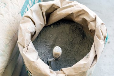 trowel and cement powder