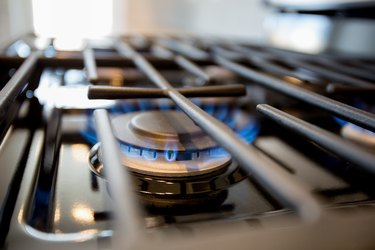Natural Gas Blue Flame on a Domestic Cooking Range Stove