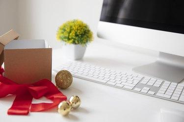 Christmas office desk