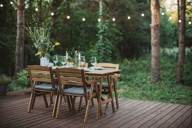 Table for dinner set on porch