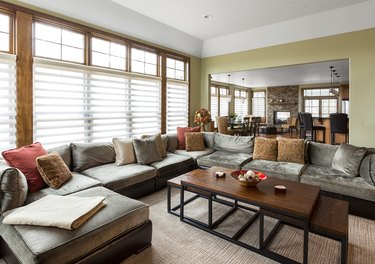 Sofa and coffee table in living room.