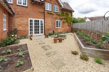 Garden terrace with french doors