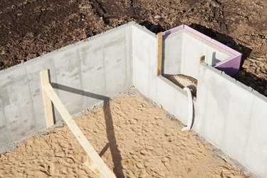 House Basement Wall Foundation Detail Aerial