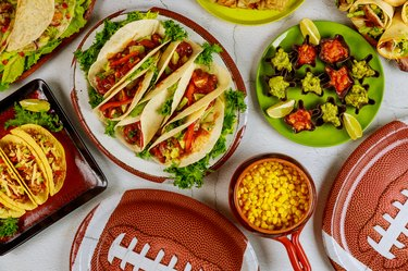 Party table for watching american football game. Mexican cuisine.