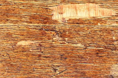 Old scratched cracked varnished wooden veneer texture background