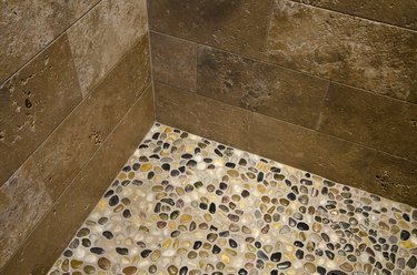 Close up pebble floor of shower