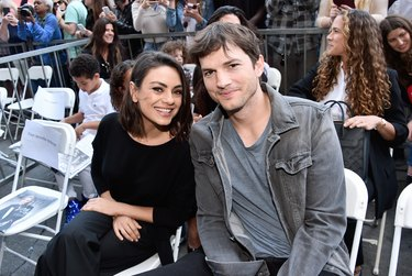 Ashton Kutcher and Mila Kunis at Zoe Saldana Star on Walk of Fame Ceremony