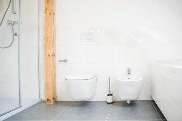 White modern toilet and bidet