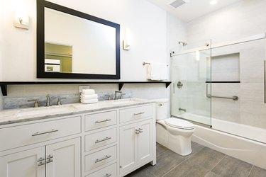 Contemporary Bathroom Design with Vanity and Shower Bathtub