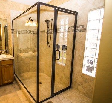 Corner Glass Shower In Modern Bathroom