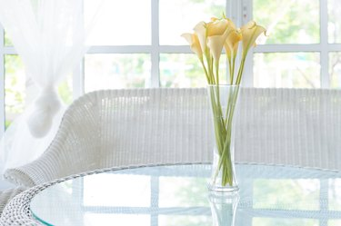 Yellow flower in vase on table and window sill background.