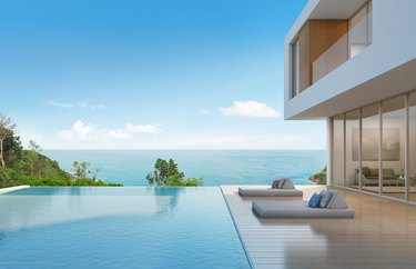 Beach house with pool in modern design