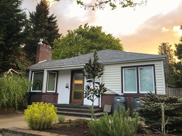 Straight on shot of a mid century bungalow 1940's style home in Portland, OR