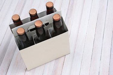 Blank Six Pack on Wood Table