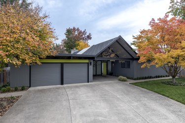 Exterior view of a mid-century modern house