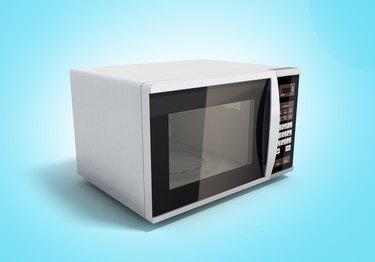 Microwave stove on blue background 3d illustration