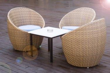 Outdoor furniture on wood resort terrace